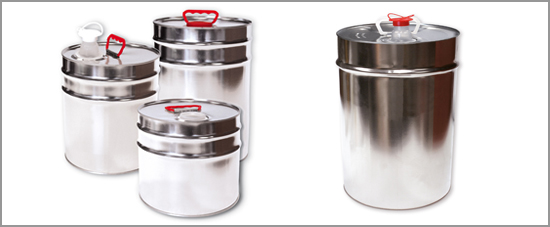 Metal containers with fixed conical lids
